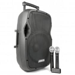 "Vonyx AP1200PA Αυτοενισχυόμενο Φορητό Ηχείο με μπαταρία 12"" με 2 ασύρματα μικρόφωνα VHF MP3 BT"