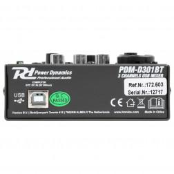 Power Dynamics PDM-D301BT USB Μίκτης 3 καναλιών Bluetooth και κάρτα ήχου