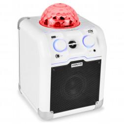Φορητό Ασύρματο Bluetooth Ηχείο για πάρτυ Vonyx SBS50W με έγχρωμη ντίσκο μπάλα σε άσπρο χρώμα