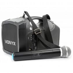 Vonyx  ST-010 Φορητό επαναφορτιζόμενο σύστημα 30 Watt RMS με USB και 1 Aσύρματο μικρόφωνο