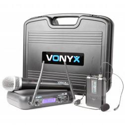 Ασύρματο σύστημα μικροφώνων Vonyx WM73C 2-Channel UHF Wireless Microphone System Combi with Handheld, Bodypack and Display