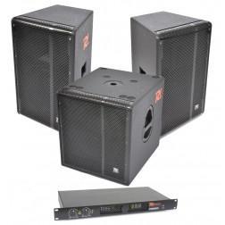 "Power Dynamics Cafe Bar Set 101 Επαγγελματικό Σέτ με δύο 15"" Παθητικά Ηχεία, Τελικό Ενισχυτή 2x450 Watt και ενεργό Subwoofer 15"""
