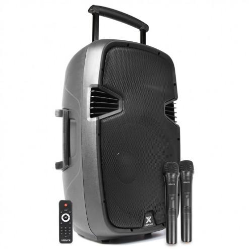 "Vonyx SPJ-PA915 ενεργό φορητό ηχείο 15"" 700 Watt Max με USB/SD/Bluetooth και με 2 Ασύρματα  Μικρόφωνα UHF"
