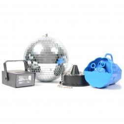BeamZDisco Set IV: Bubble Machine, LED Strobe and Mirror Ball with Motor