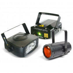 BeamZ Light Package 4: Moon Flower + Laser Red and Green + Stroboscope 150W