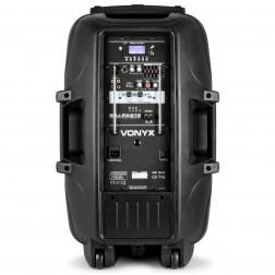 "Vonyx SPJ-PA915 ενεργό φορητό ηχείο 15"" 700 Watt Max με USB/SD/FM/Bluetooth και με 2 Ασύρματα  Μικρόφωνα"