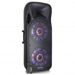 Fenton FT215LED Αυτοενισχυόμενο ηχείο 2 x 15'' 1600W με 2 ασυρμ. μικρόφωνα, τηλεχειριστήριο, BT USB SD MP3 και φωτισμό LED