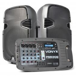 Vonyx PSS302 Φορητό Σετ ηχείων με βάσεις USB Mp3 player με μικρόφωνο