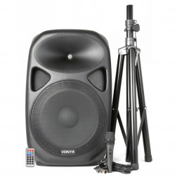 "Vonyx SPS152 Αυτοενισχυόμενο ηχείο 15"" με MP3/USB/SD/Bluetooth, Βάση, Μικρόφωνο-600 Watt Max (τμχ) με Stand"