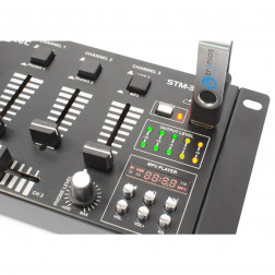 Skytec STM-3020B μίκτης 4 καναλιών με USB MP3 player, εισόδους line/phono και οθόνη