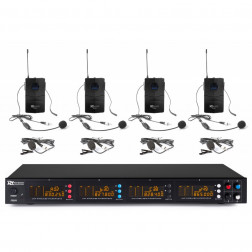 Power Dynamics PD504B 4x 50-Channel UHF Wireless Microphone Set with 4 bodypack microphones