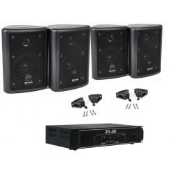 Πακέτο ήχου 2 x SkyTec SpsW 2-way, 75W max με Skytec SPL 400 Ενισχυτή 2x 200W για εγκαταστάσεις καφέ μπαρ καταστήματα με βάσεις τοίχου