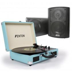 Retro Vintage Πικάπ Fenton σε συνδυασμό με αυτοενισχυόμενα ηχεία Skytec και καλώδιο σύνδεσης