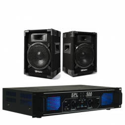 """Πακέτο ήχου SkyTec MAX8 ζευγάρι σετ ηχείων 8"""" 400W με Skytec SPL 500 Ενισχυτή 2x 250W"""