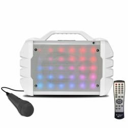 iDance Blaster 208 Lifestyle Φορητό ηχείο  με επαναφορτιζόμενη μπαταρία φωτορυθμικά led, μικροφώνο,τηλεχεριστήριο και λειτουργία εγγραφής rec σε λευκό χρώμα