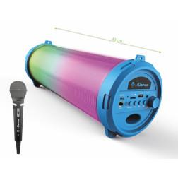 iDance Cyclone 401 Φορητό ηχείο με Bluetooth USB Mp3 Player, LED φωτισμού, Ραδιόφωνο FM Μικρόφωνο και επαναφορτιζόμενη μπαταρία Μπλέ χρώμα