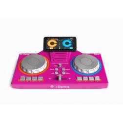 iDance DJ XD101 φορητό DJ controller 2 καναλιών για παιδιά με φωτορυθμικά σε ρόζ χρώμα με μικρόφωνο μίκτης για smartphone tablet