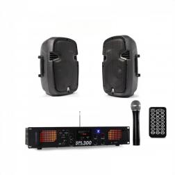 """Πακέτο ήχου με δύο SkyTec SPJ800 Hi-End 8"""" 200W και ενισχυτή Skytec SPL-300VHF-MP3 2x150 Watt"""