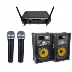 """Σετ ενεργά ηχεία SkyTec 10"""" SD/USB/MP3 με 2 ασύρματα μικρόφωνα Vonyx για καραόκε πάρτυ και μικρές εκδηλώσεις"""