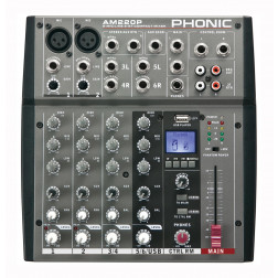 Phonic AM 220P 2-MIC/LINE 2-STEREO INPUT COMPACT MIXER Με Ενσωματωμένο USB Player