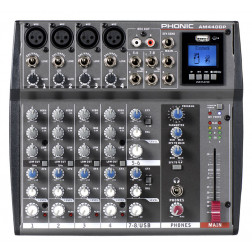 Phonic AM 440DP 4-MIC/LINE 2-STEREO INPUT COMPACT MIXER WITH DFX AND USB PLAYBACK