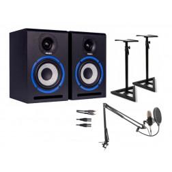 MXMstudioSet Ολοκληρωμένο Πακέτο για Στούντιο με Ηχεία Monitor, Πυκνωτικό Μικρόφωνο, Καλώδια και Βάσεις